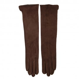 Women's Long Texting Faux Suede Polyester Glove