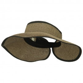 Women's UPF 50+ Tweed Roll Up Visor - Black