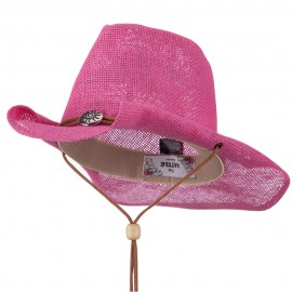 Fashion Straw Cowboy Hat with Chin Cord