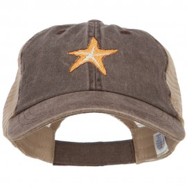 Starfish Embroidered Washed Trucker Cap