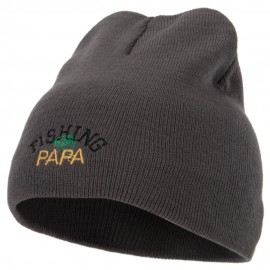 Fishing Papa Design Embroidered 8 Inch Knitted Short Beanie