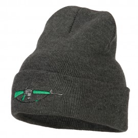 M-16 Rifle Embroidered Long Knitted Beanie