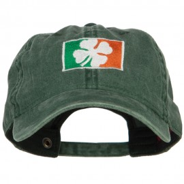 Ireland Flag with Shamrock Embroidered Washed Cap