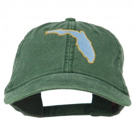 Florida State Map Embroidered Washed Cap - Dark Green