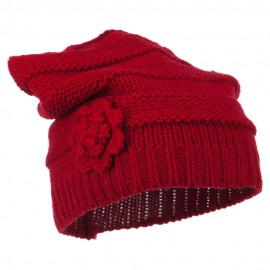 Flower Knit Long Beanie - Red