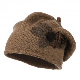 Ladies Flower Feather Beret - Camel