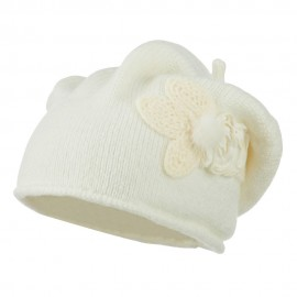 Ladies Flower Feather Beret - White