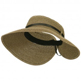 Women's UPF 50+ Tweed Buckle Roll Up Visor - Black Brown