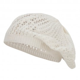 Classic Solid Knit Beret - White