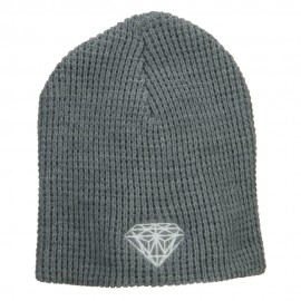 Big Size Diamond Embroidered Waffle Beanie - Grey