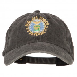 US Air Force Veteran Circle Embroidered Washed Cotton Twill Cap