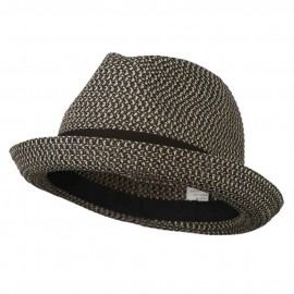 Men's Fedora with Paper Straw Braid - Black Grey