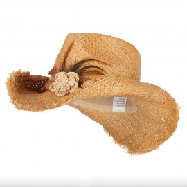 Women's Feather and Flower Accent Raffia Cowboy Hat