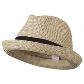 Men's Fedora with Paper Straw Braid - Beige