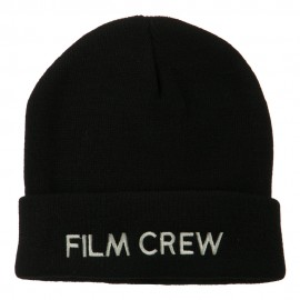 Film Crew Embroidered Long Beanie - Black