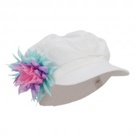 Flower Cotton Elastic Newsboy Youth Cap