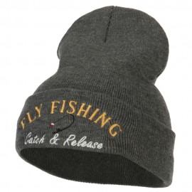 Fly Fishing Catch and Release Embroidered Long Beanie