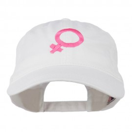 Female Symbol Embroidered Washed Cap - White
