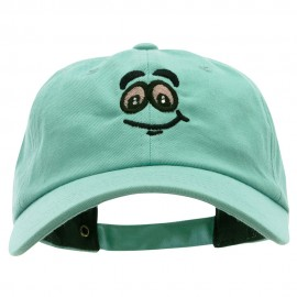 High Smiley Face Embroidered Unstructured Cotton Twill Washed Cap