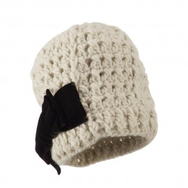 Girl's Acrylic Beanie with Crushed Large Velvet Bow
