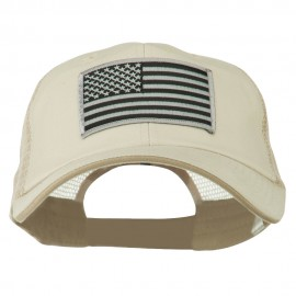Grey American Flag Patched Big Size Washed Mesh Cap