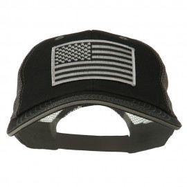 Grey American Flag Patched Big Size Washed Mesh Cap - Black Grey
