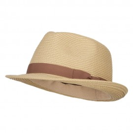 Big Size Paper Straw Fedora with Thin Grosgrain Band