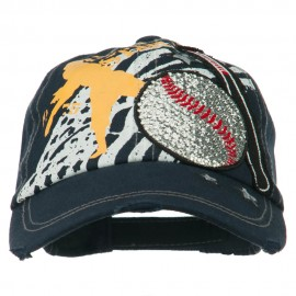 Glittering Baseball and Bat Design Cap