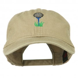 Golf Ball on Golf Tee Embroidered Washed Cotton Cap - Khaki