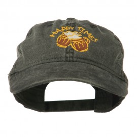 Good Times Beer Image Embroidered Washed Cap - Black