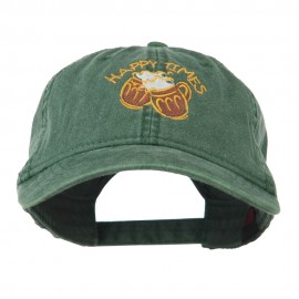 Good Times Beer Image Embroidered Washed Cap - Dark Green