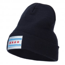 Chicago Flag Embroidered Long Beanie