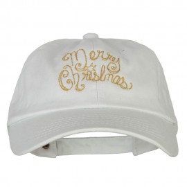 Glitter Merry Christmas Embroidered Unstructured Washed Cap