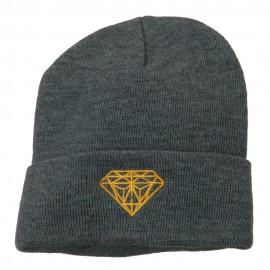 Gold Diamond Embroidered Long Cuff Beanie