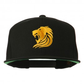 Gold Lion Embroidered Wool Snapback Cap - Black