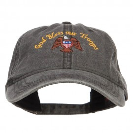 God Bless Our Troops Embroidered Washed Cap