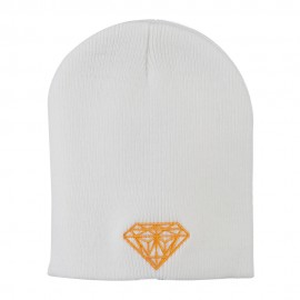 Gold Diamond Embroidered Youth Short Beanie - White