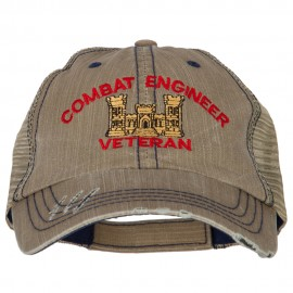 Combat Engineer Veteran Embroidered Low Profile Cotton Mesh Cap