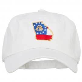 Georgia State Flag Map Embroidered Unstructured Washed Cap