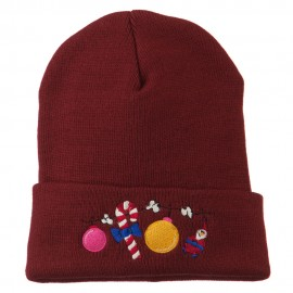 Christmas Garland Elf Candy Embroidered Beanie - Maroon