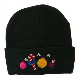 Christmas Garland Elf Candy Embroidered Beanie - Black