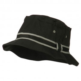 Striped Hat Band Fisherman Bucket Hat - Black Grey