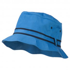 Striped Hat Band Fisherman Bucket Hat - Blue Navy