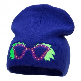 Mardi Gras Glasses with Plumes Embroidered Short Beanie