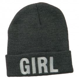 Girl Embroidered Cuff Long Beanie