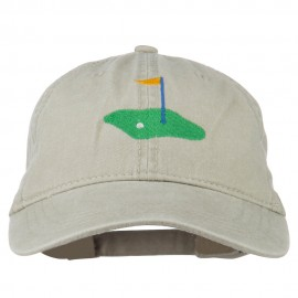 Golf Flag on the Green Embroidered Washed Cap