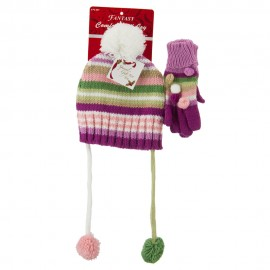 Girl's Hat and Glove Set with Pom Poms