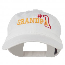 Number 1 Grandpa Outline Embroidered Washed Cotton Cap