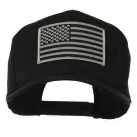 Grey American Flag Patched High Profile Cap - Black