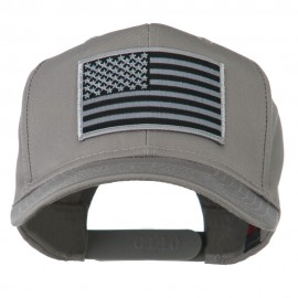 Grey American Flag Patched High Profile Cap - Grey